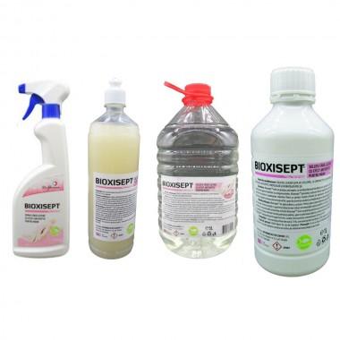 Pachet antiseptic, Bioxisept Gel Dezinfectant pentru maini 1l, Bioxisept dezinfectant pentru maini, fara clatire spray 750ml, 1l si 5L(pet)