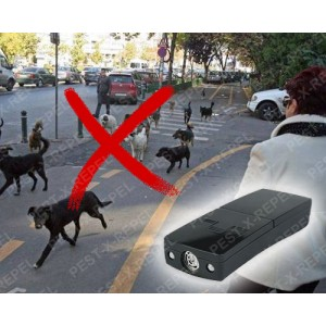 Aparat portabil cu ultrasunete si led-uri impotriva cainilor (Pestmaster - Super Dogchaser) - 12 m